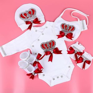 newborn baby clothing set baby's sets rhinestone crown 0-3 months Hat+Bodysuits+Gloves+Shoes 4 Parts boy girl jumpsuit clothing 201022