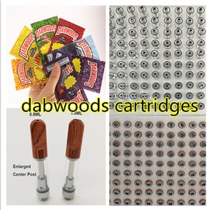 Dabwoods Vape Cartridges 510 Cartridge Ceramic Coil Carts Screw on Tips 0.8ml 1ml Glass Tank Thick Oil Atomizers Empty E-Cigarettes
