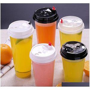 700 ملليلتر 24 أوقية الكؤوس البلاستيكية المتاح الباردة الساخنة مشروبات عصير القهوة حليبي كوب الشاي رشاقته أداة شفاف شفاف مع غطاء Q8O5V