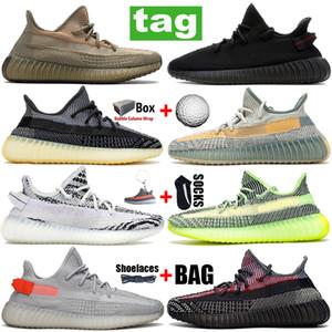 Big Taille Kanye Runner V2 Mens Chaussures de course Femmes Fade Carbon Naturel Baskets de réflexion Noir Statique Cream Gid Glow Zebra Sport Formateurs