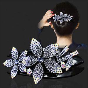 Coreano Strass Grande Grande Flower Gripper Elegante Mãe Volta Delicate Shining Acessórios