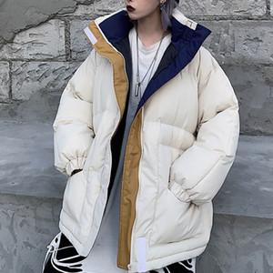 Winter -20 Oversize Jacket Female Coat Patchwork Windbreaker Women Padded Zipper Outwear Parka Thick Streetwear Overcoat Warm 201123