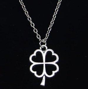 20 шт. Новое модное ожерелье полые повезло четыре листа клевера подвески Ирландские подвески ожерелье женщины мужские подарок