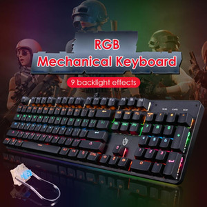 104 Keys Full-Size USB Wired Blue Switch RGB Backlight Mechanical Gaming Keyboard 9 Modes Wired Mechanical Keyboard Universal