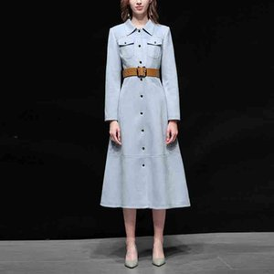 New Arrival 2020 Autumn Women Fashion Trench Turn Down Neck Pockets Long Sleeve Single-breasted Coats Office Lady