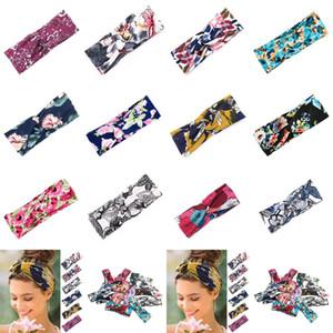Bandas de 12 estilos de yoga del deporte de las mujeres del pelo 8 * 24cm Charm Cruz floral Hairband Impreso venda del nudo del borde ancho de pelo accesorios CYZ2846 350Pcs