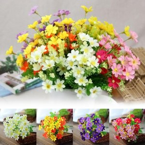 Домашний декор Элегантный букет из 7 филиалов с 28 Голова Искусственный цветок Шелковая ткань Gerbera Daisy Солнце цветы Горячие Продажи