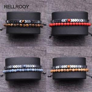 Men's Set Hematite Bracelets European Weaving Mens Brading Macrame Bangle Punk Hiphop Cool Men Jewelry Gift Pulseira Masculina
