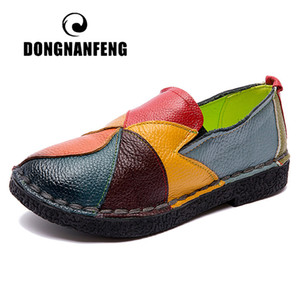 DONGNANFENG Female Ladies Women Mother Genuine Leather Shoes Flats Designer Loafers Slip On Colorful Plus Size 41 42 TB-2098 1006