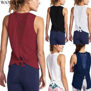 WANAYOU atractivo de las mujeres del chaleco de malla transpirable de secado rápido Deportes flojo sin mangas de fitness yoga camiseta Running entrenamiento de la gimnasia tapas del tanque