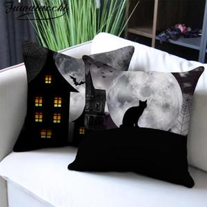 Fuwatacchi Halloween Gift Cushion Cover Pumpkin Printed Photo Castle Pillow Case for Home Sofa Chair Decor Pillowcases 45x45cm
