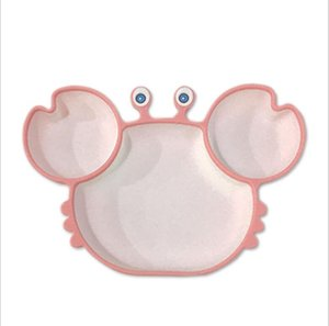 One piece all silica gel plate cartoon crab partition plate anti falling and antiskid supplementary food training tableware set