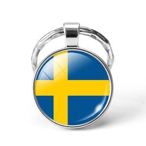 Новейший металлический футбол Кубок мира брелок Сирия / Швеция / Швейцария / Саудовская Аравия Национальный флаг Стекло Cabochon Keyring