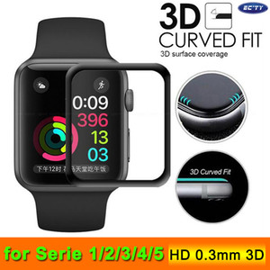 For Apple Watch 4 Full Covered 9H 3D Curved Edge Glue Tempered Glass Film Screen Protector 40mm 44mm 38mm 42mm For iWatch 123 With Box