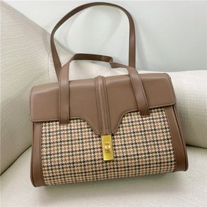 The new trend of autumn and winter 2020, leather large-capacity backpack, houndstooth tote underarm handbag, soft one-shoulder handbag