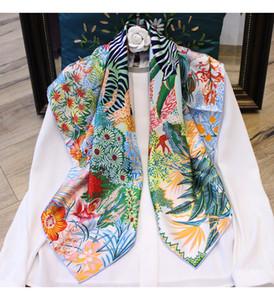 2020 High Grade 90*90cm Square Scarf Jungle zebra Printed Hand Rolled 100% Soie Twill Silk Pashmina Wraps Hijabs Capes 35''X35'' BGO29161