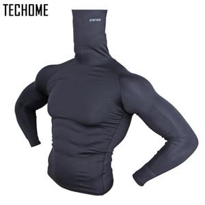 shirts tops big size men clothing Turtleneck long sleeve t shirt High-collar leisure brand cotton European style men's 201007