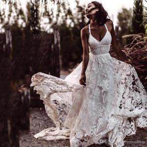 2020 Amazing Flower Lace Boho Beach Wedding Dress Bridal Gowns Spaghetti V-neck Slit Skirt Sweep Train Vestidos De Novia Wedding Gowns