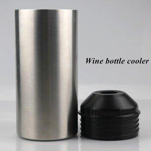 Kapak Paslanmaz Çelik Şişe Soğutucuları Kırmızı Şarap Gümüş Çift duvarlı İzoleli Vakum Bar Aracı Deniz Kargo IIA863 ile 25oz Şarap Şişe Soğutucu