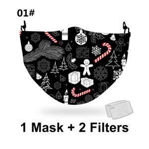 New Christmas Digital Mask PM2.5 Poltoni digitali stampati di Natale 3D PM2.5 Panno in cotone Panno in cotone può essere sostituito da Maschera filtrante EWD2716