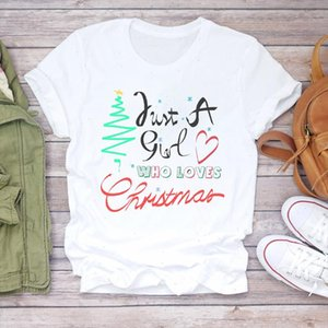 Mulheres Christmas Amor Coração Doce Impressão Roupas Feriado Impressão Senhora Tshirt Senhoras Graphy Camisas Top Feminino Tee Camiseta