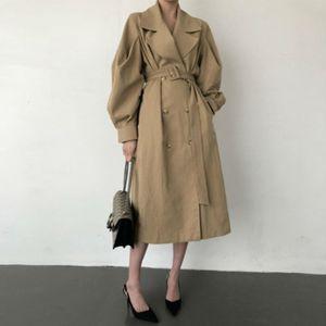 Genayooa Black Women's Trench Coat 2020 Single Breasted Loose Winter Coat Women Elegant High Quality Outwear Windbreaker Ladies