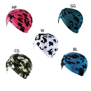 Womens Colored Camouflage Dotted Print Turban Hat Twist Knotted Front India Chemo Cap Pleated Wrinkle Stretchy Beanie Head Wrap1