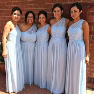 Cheap Simple Blue Mint Green One Shoulder Chiffon Bridesmaid Dresses Pleated Floor Length Plus Size Maid Of Honor Dress Wedding Guest Gowns