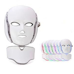 7 luce terapia faccia a LED macchina di bellezza LED Maschera per il viso collo con microcorrente per il dispositivo di sbiancamento della pelle DHL libera la spedizione