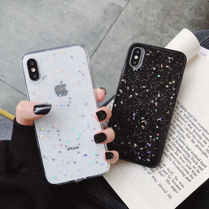 For Apple iPhone 11 Pro 6 6s 8 7 Plus XR 10 X XS Max 5S Cover Glitter Bling Star Moon Sequins Soft TPU Clear Silicone Phone Case