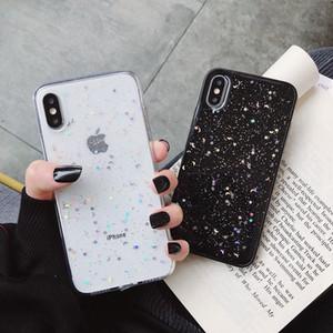 Apple iPhone 11 Pro 6 6s 8 7 Artı XR 10 X XS Max 5S Kapak Glitter Bling Star Moon Pullarda Yumuşak TPU Şeffaf Silikon Telefon Kılıfı