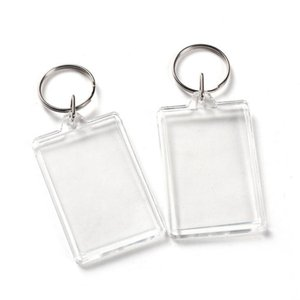 Clear Acrylic Plastic Blank Keyrings Insert Passport Photo Frame Keychain Picture Frame Keyrings Party Gift NWB3305