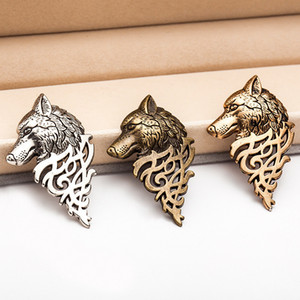 European and American retro jewelry, personalized fashion men's suit collar pin buckle, domineering wolf head brooch pin collar decoration