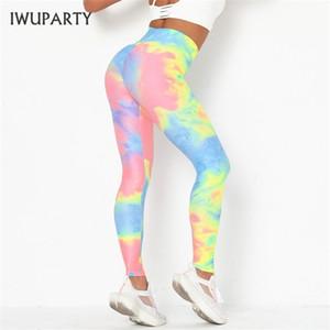 IWUPARTY Croce Donne Sexy Tie Dye Digital Print fitness leggins pantaloni slim a vita alta Sport Leggings donna Q1107