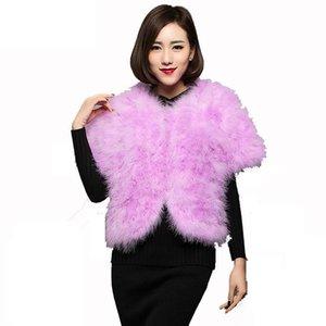 2020 novo cabelo de peru pele real cabelo avestruz jaqueta de manga curta casaco xale mais algodão