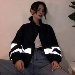Harajuku Reflective Bomber Jacket Boyfriend Oversized Black Basic Coat Women Windbreaker Long Sleeve Baseball Cropped Jackets T200930
