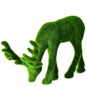 Simulation de plante artificielle Animal Mousse Vert Plante False Moss Stag Deer Jardin Décoration intérieure Fake en pot Ybqa #