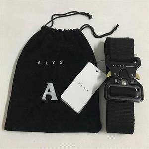 ALYX 벨트 128cm 패션 안전 벨트 남성 여성 롤러 코스터 블랙 메탈 버튼 캔버스 ALYX