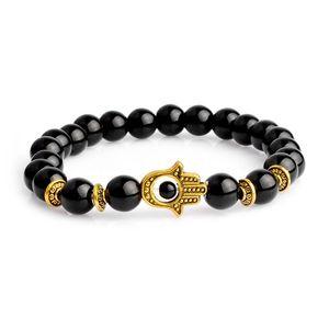Miss Zoe Hamsa Fatima Demon Eye Bracelets Lava Matte Beads Chakra Wristband Custom Bangles bijoux Chain Women Men Jewelry
