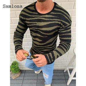 Samlona Nuovo Knitting Sweater Mens Primavera Autunno svago casuale Patchwork Colore Stripes Maglioni Pullover Maschio Abbigliamento 2020