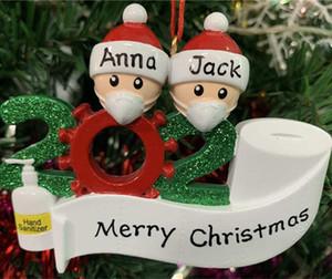 2020 Quarantine Babbo Natale decorazioni Compleanni partito regalo personalizzato famiglia di 4 Ornamento Pandemia Maschere mano Sanitized fy