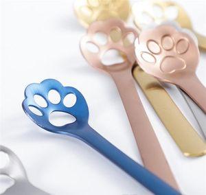 Starbucks Coffee Spoon Sugar Spoon Creative Cat Paw Design Colored Stainless Steel bbyeiI bdesports