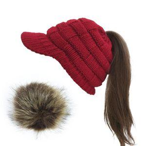 Вязание бейсболки Лыжные шапки Женщины Зима теплая Knit Hat Pom Pom Fur лыжи крышкам Visor Beanie Dropshipping