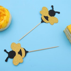 36pcs Cute Cupcake Topper Decoration Adorable Bee Cake Pick Dessert Fruites Picks For Baby Shower Birthday Supplies A35 sqcemQ sports2010