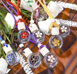 8-10ml Hanging Car Perfume Flower Bottle Fragrance Diffuser Bottle Air Freshner Glass Essential Oil Bottle Car Deco jllErS bdecoat