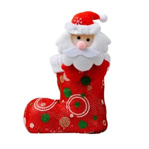 Christmas Candy Boots Santa Claus Snowman Cartoon Style Bright Cloth Holiday Party Decoration