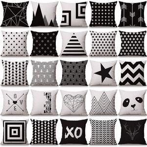 negro funda de almohada blanca cubre la geometría del amortiguador de algodón funda de almohada de lino Halloween Navidad para Sofá cama nórdica Throw Pillow caso GWC3483