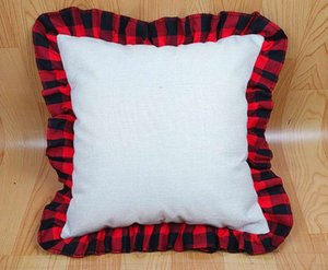 18 inch Blank Sublimation Pillow Case DIY Thermal Linen Cushion Throw Pillow Covers Tartan Plaid Lace Pillowcases Home Decoration W59