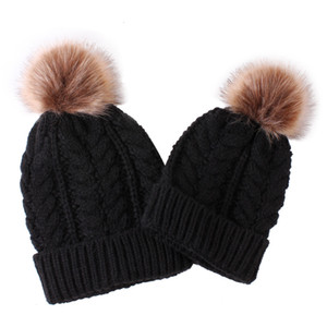 Us Pudcoco Stock Free Shipping 5 Colors Womens Mother Baby Matching Knitting Pom Bobble Hat Kids Winter Warm Beanie Cap 2931