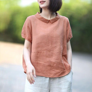 F je Summer Women Shirt Plus Size Loose Casual Short Sleeve Peter Pan Collar Patchwork linen Tops Vintage Female Blouse Big D6